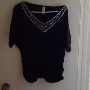 "Beautiful ""studded"" purple short sleeve top"